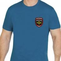 Сине-зеленая мужская футболка с вышитой эмблемой ПОЛИЦИИ