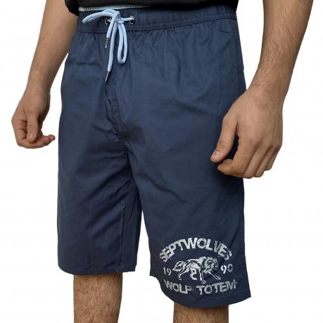 Синие бордшорты мужские с надписью Septwolves