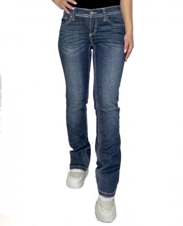 Синие женские джинсы Bruno Banani с белыми строчками.