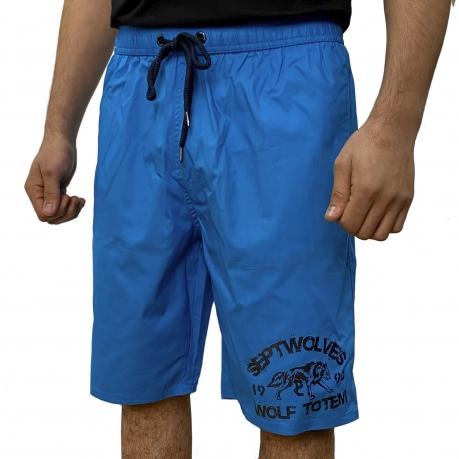 Синие мужские шорты с надписью Septwolves