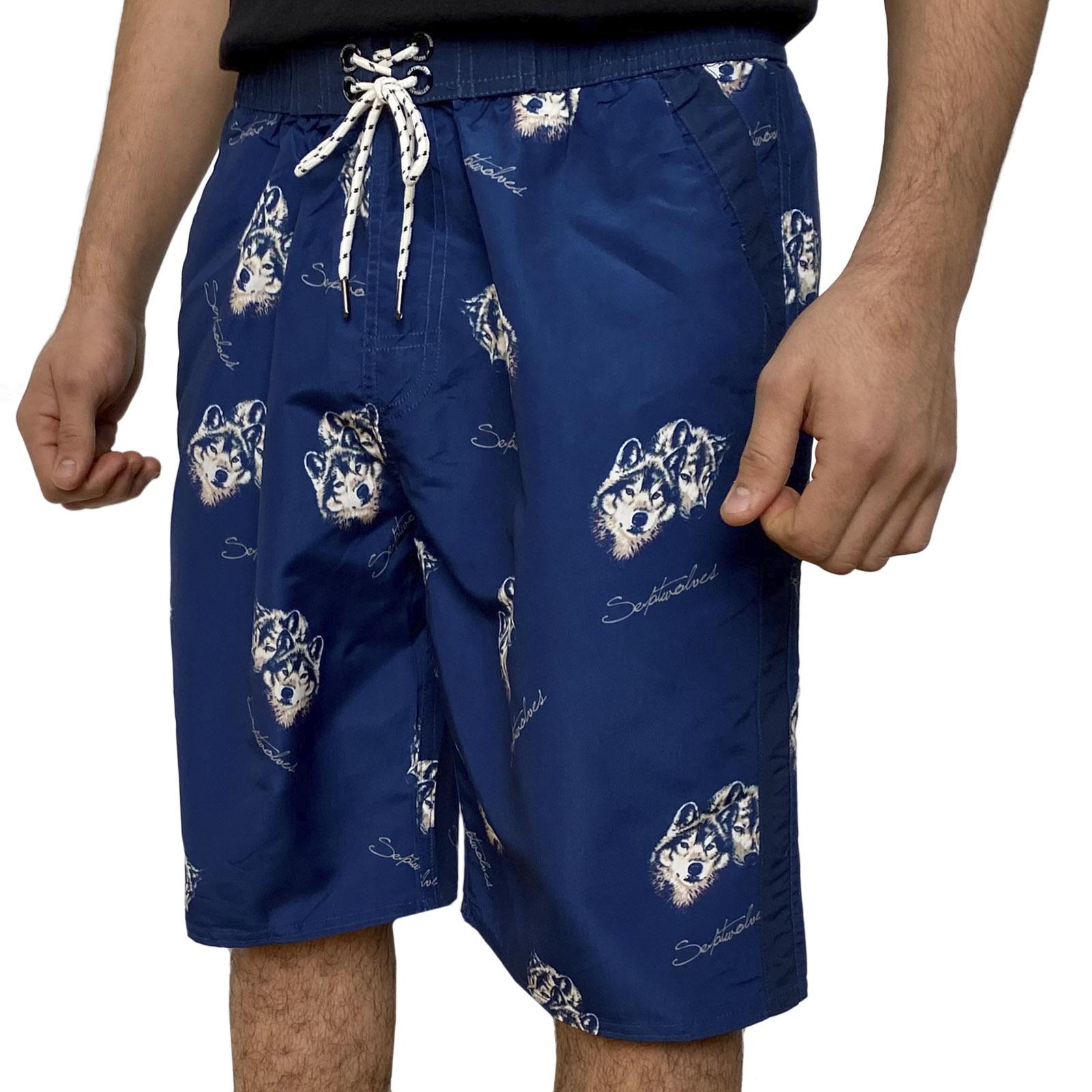 Синие мужские шорты с принтом от Septwolves
