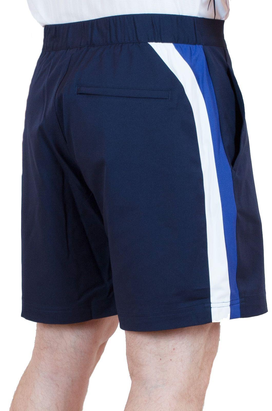 Синие шорты для мужчин с боковыми полосками - вид сзади