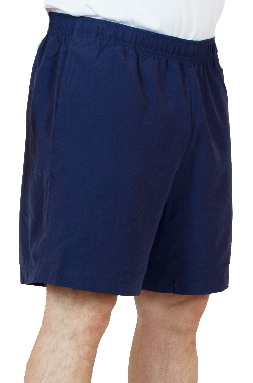 Синие спортивные мужские шорты - вид сбоку