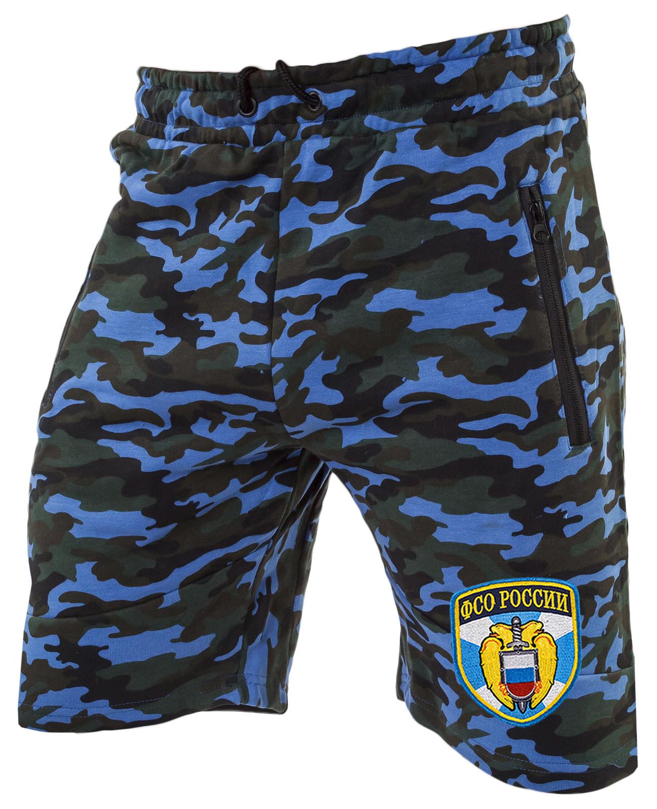 Синие удлиненные шорты с нашивкой ФСО