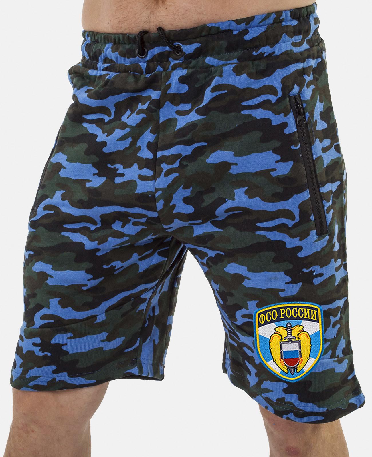 Купить синие удлиненные шорты с нашивкой ФСО выгодно онлайн