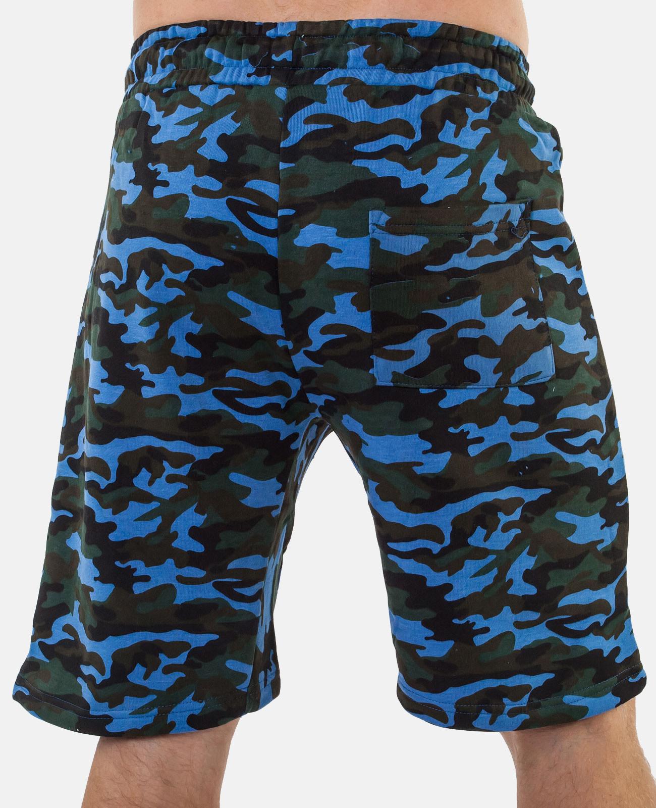 Синие удлиненные шорты с нашивкой ФСО - заказать выгодно
