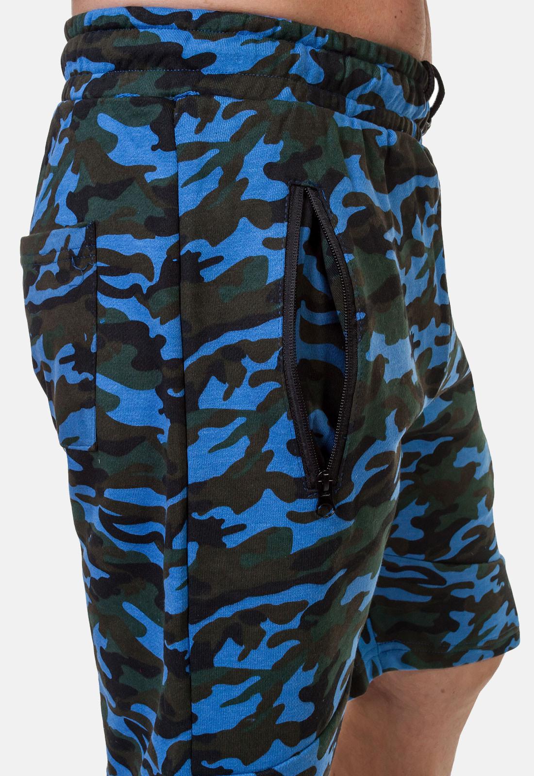 Синие удлиненные шорты с нашивкой ФСО - заказать с доставкой
