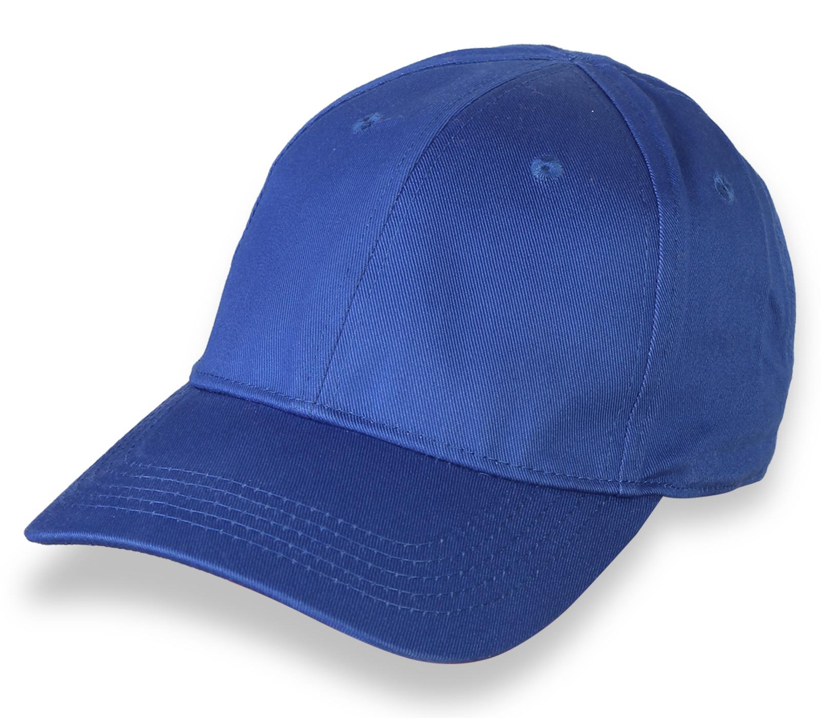 Синяя однотонная бейсболка