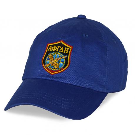 """Синяя бейсболка """"Афган"""" с вышитой эмблемой"""
