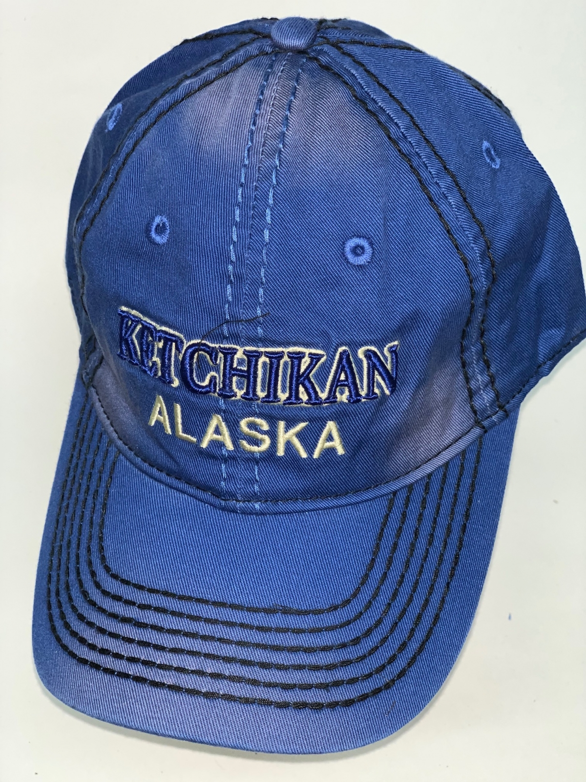 Синяя бейсболка Alaska простроченная черной нитью