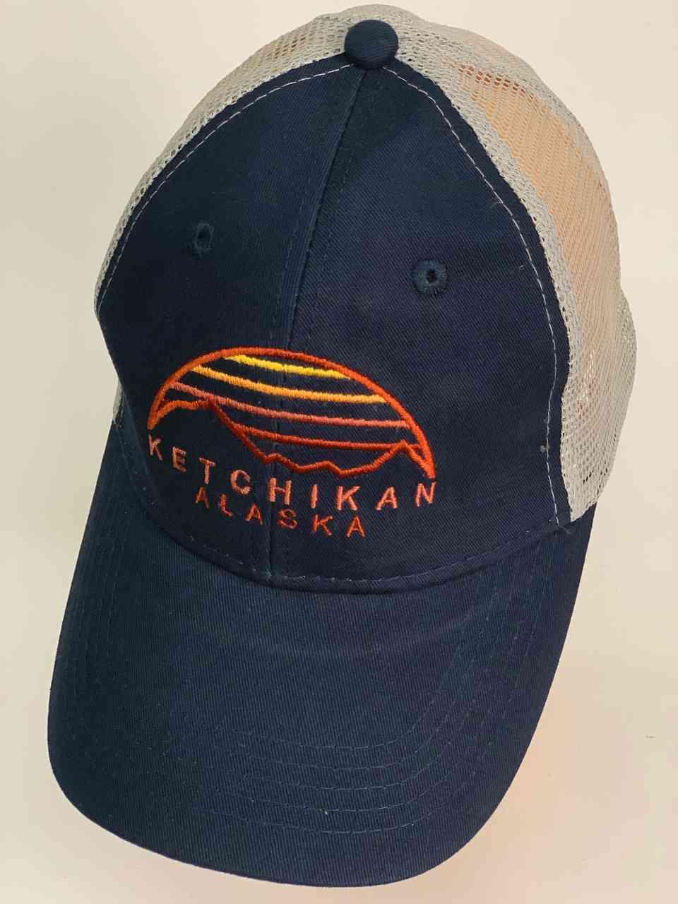 Синяя бейсболка с сеткой KETCHIKAN Alaska
