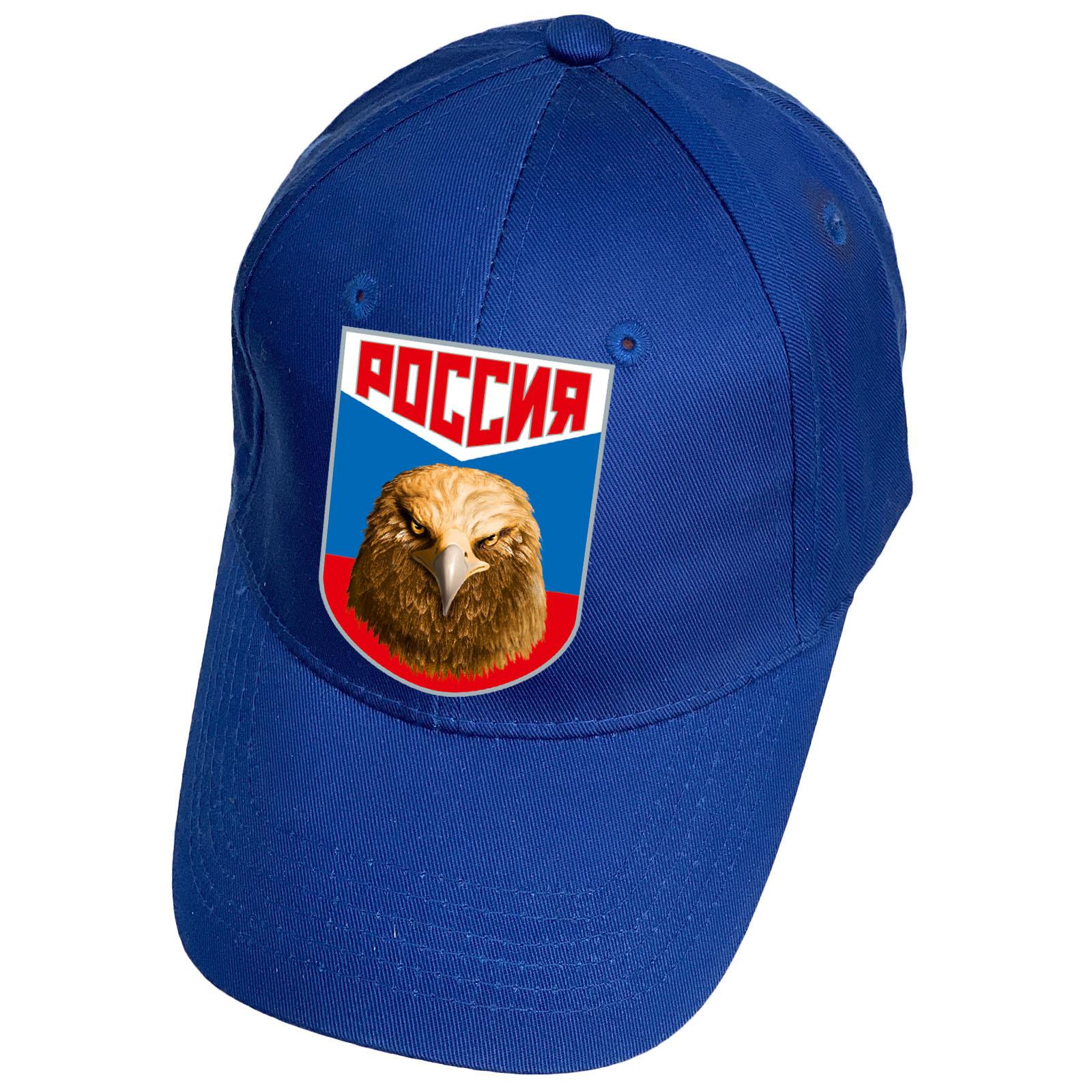 Синяя бейсболка с термотрансфером Россия