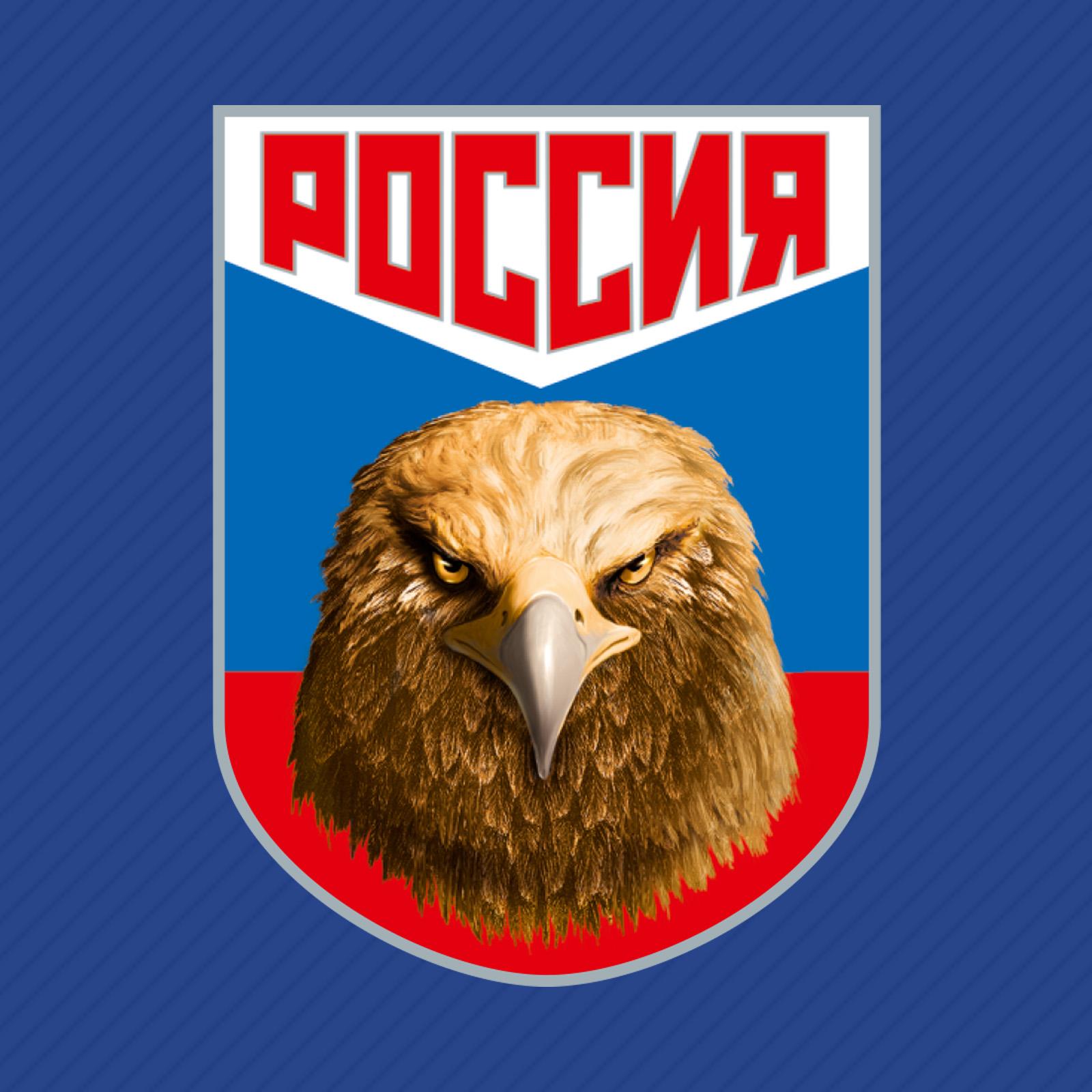 Купить синюю бейсболку с термотрансфером Россия с доставкой