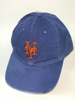 Синяя джинсовая бейсболка с оранжевой вышивкой на тулье
