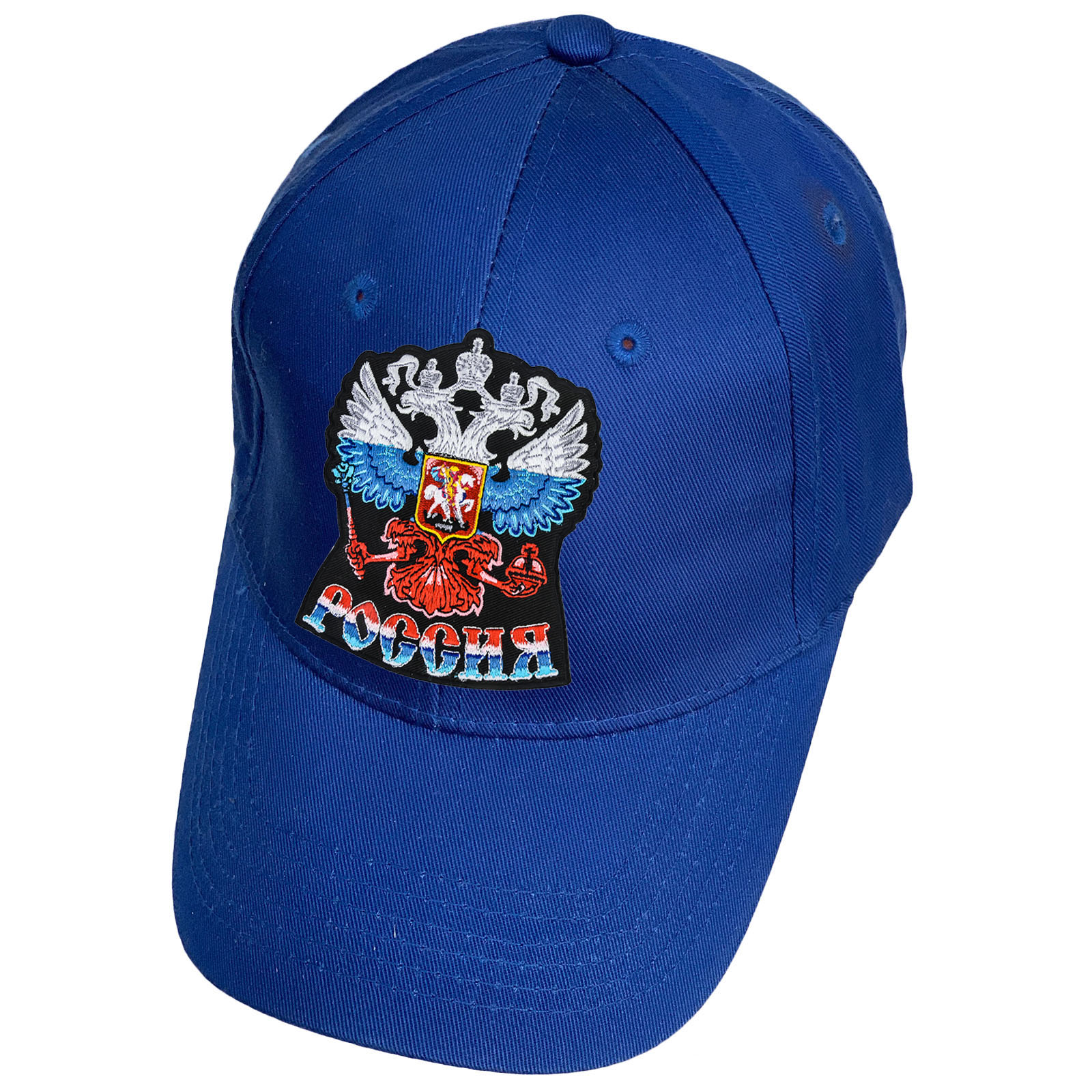 Синяя кепка с нашивкой Россия
