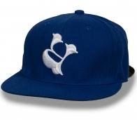 Классная синяя кепка с ровным козырьком
