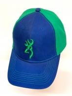 Синяя летняя бейсболка Browning с зеленым тылом и вышивкой