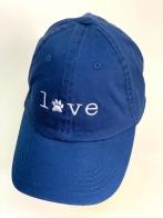 Синяя летняя бейсболка LOVE с белой вышивкой
