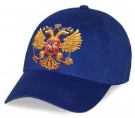 Синяя мужская хлопковая бейсболка патриотам с эффектным принтом Двуглавого орла. Современный дизайн по лучшей цене! Количество ограничено, успейте заказать!