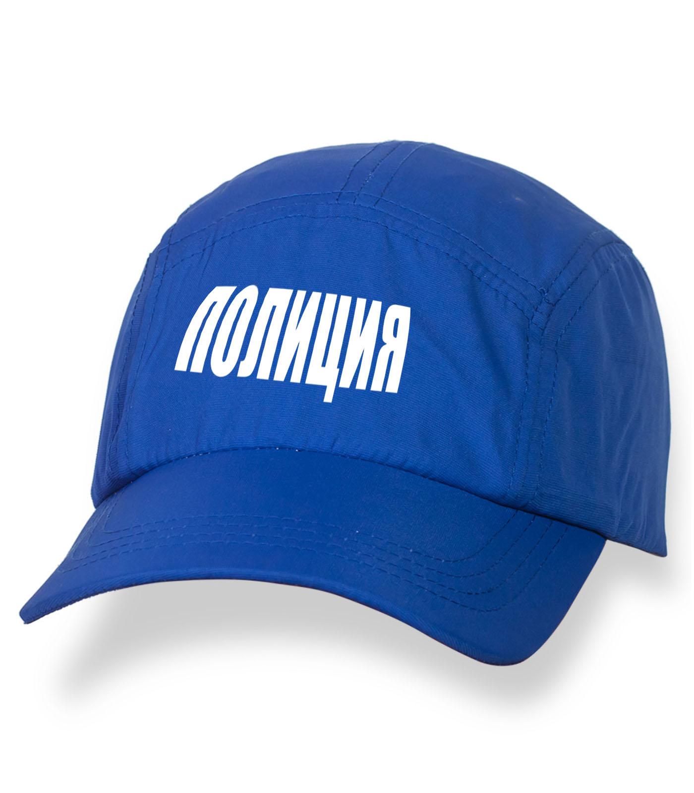 Синяя надежная кепка-пятипанелька с термонаклейкой Полиция
