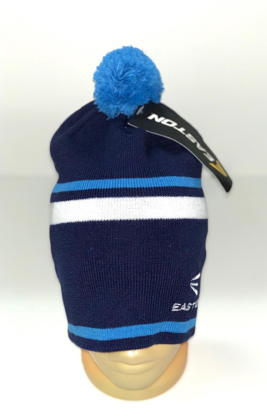 Синяя шапка с полосками и голубым помпоном