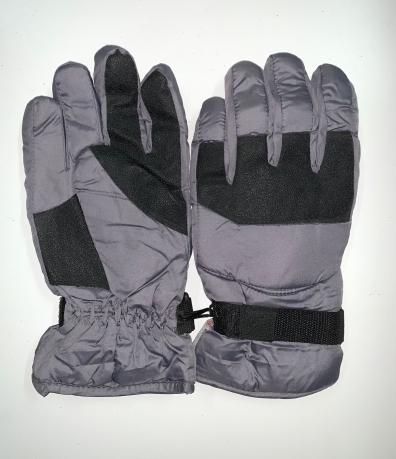 Сиреневые теплые перчатки с черными вставками