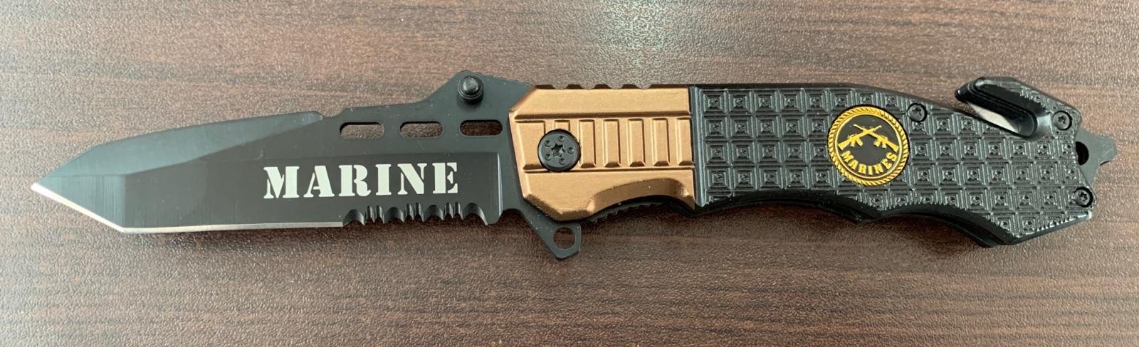 Складной армейский нож Marines со стропорезом и стеклобоем