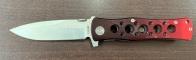 Складной нож с перфорированной бордовой рукоятью