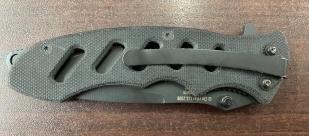 Складной нож с перфорированной рукоятью и стропорезом