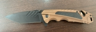 Складной нож с удобной коричневой рукоятью