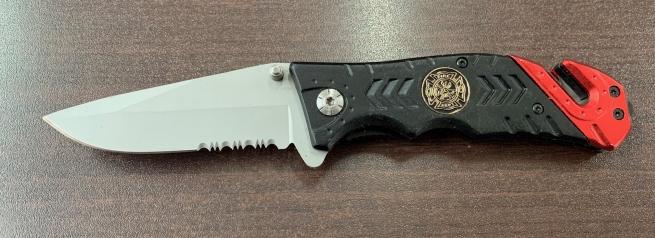 Складной нож со стеклобоем и двухцветной рукояткой
