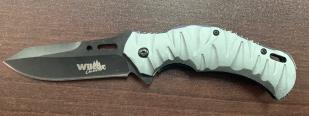 Складной нож со светлой рифленой рукояткой