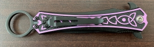 Складной нож-стилет Tac-Force с сиреневым узором на рукоятке
