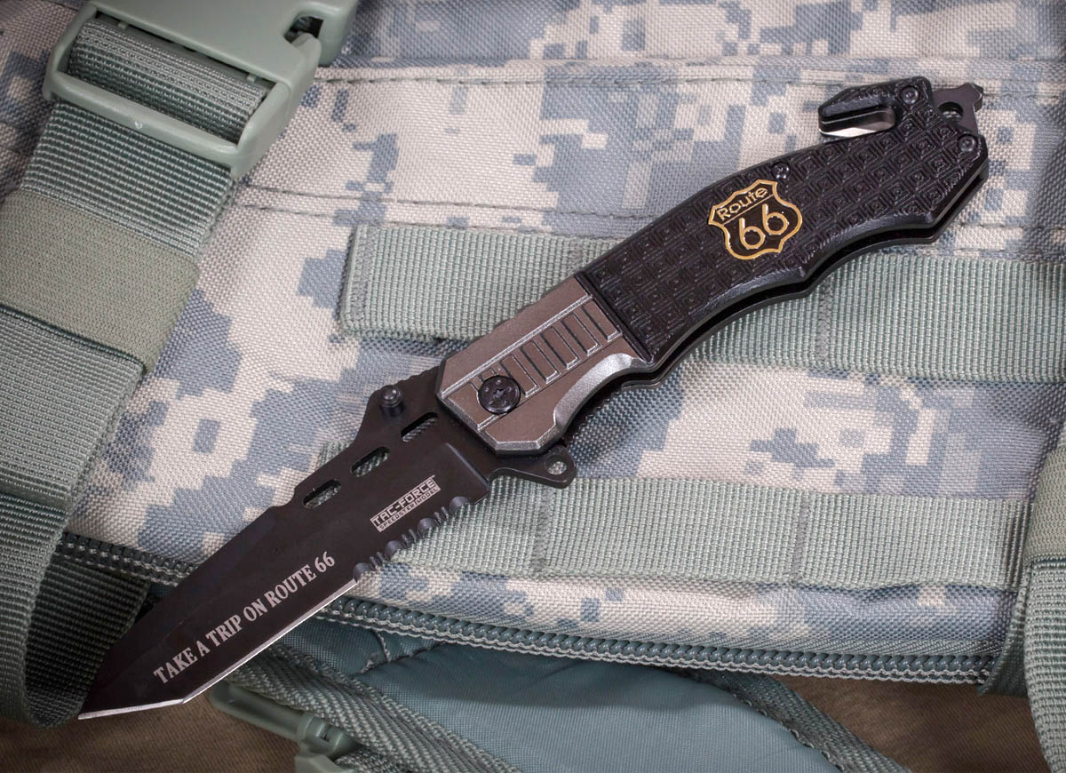 Складной спасательный нож Tac Force TF-740 Route 66