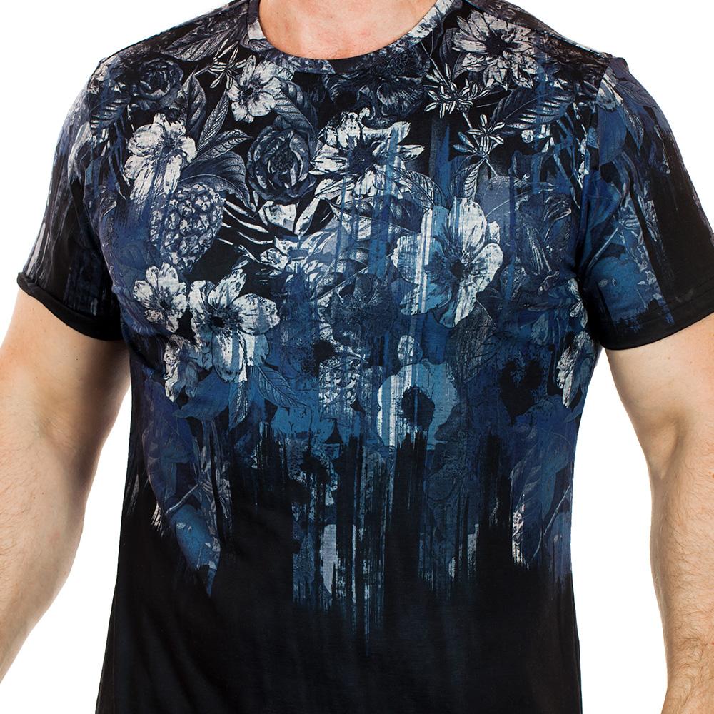 Смелая мужская футболка Splash с готическим цветочным принтом