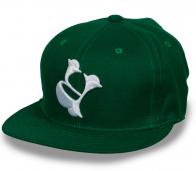 Темно-зеленая кепка снэпбэк с вышивкой RAP.