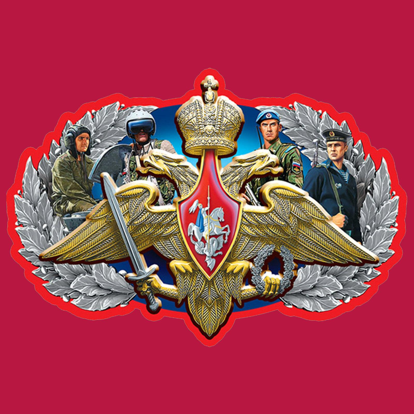Купить сочную красную кепку-пятипанельку с термотрансфером Армия России оптом или в розницу