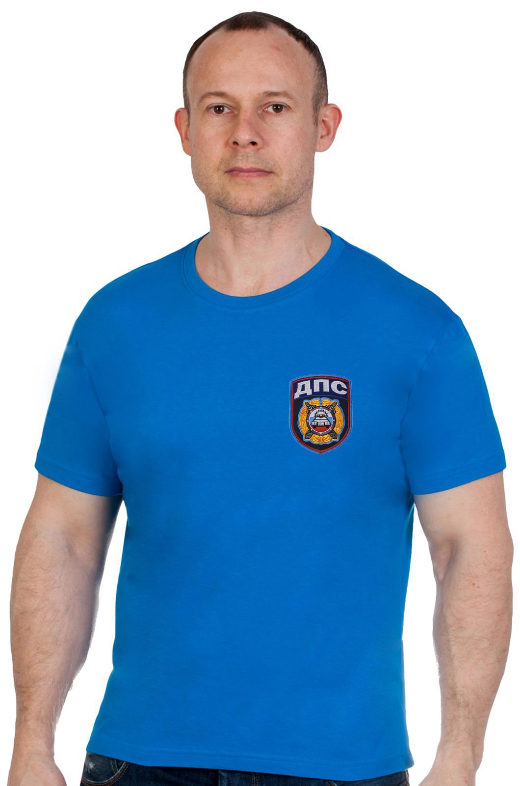 Купить сочно-синюю мужскую футболку ДПС по выгодной цене онлайн