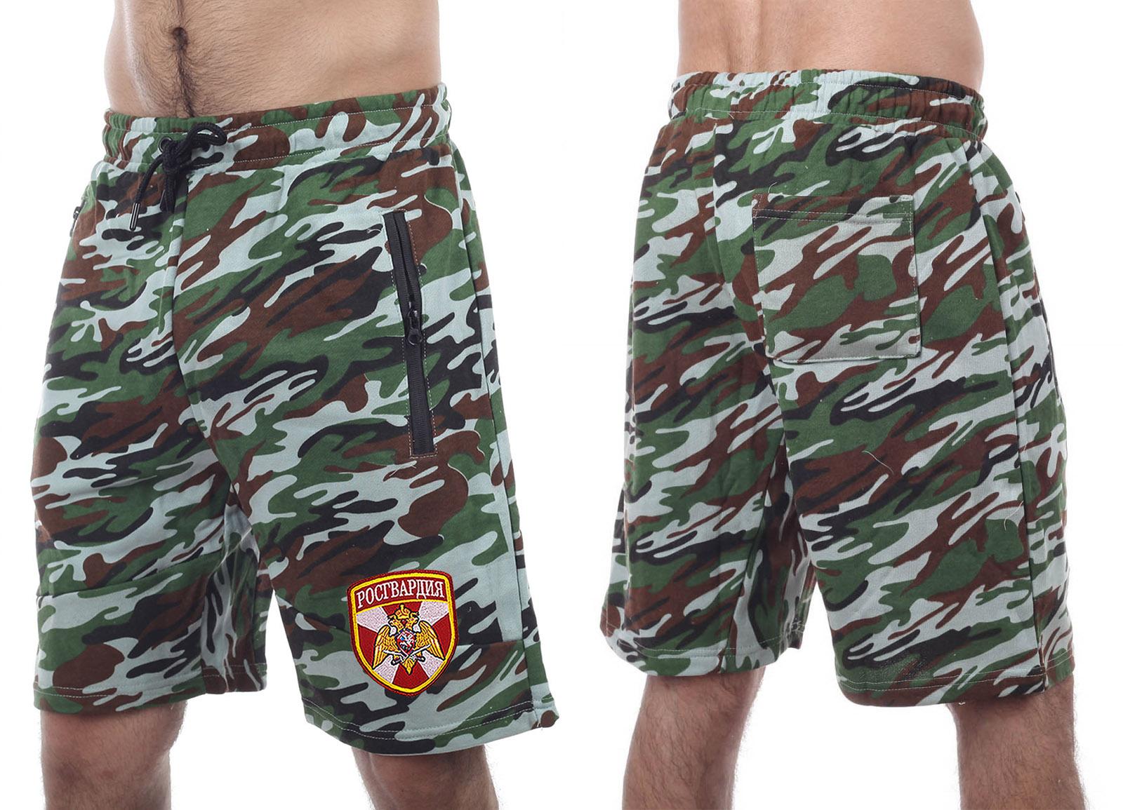 Сочные камуфляжные шорты с карманами и нашивкой Росгвардия - купить с доставкой