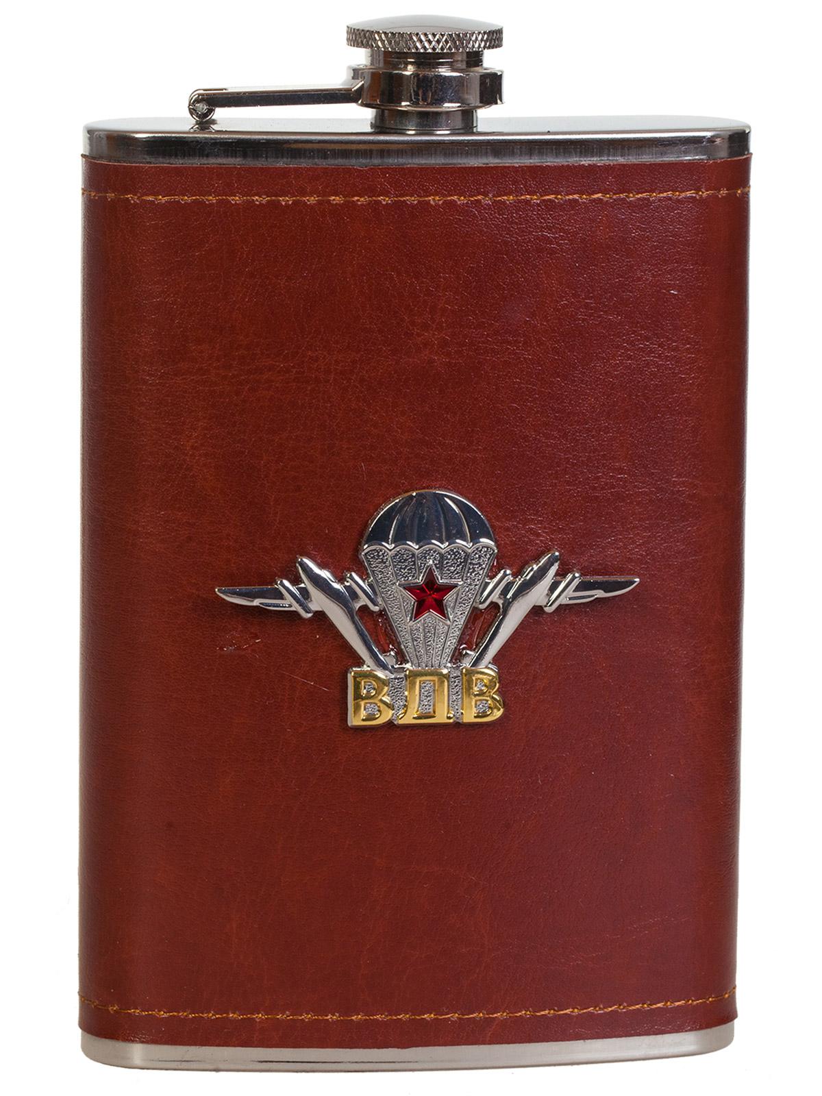 Солидная подарочная фляжка с металлической накладкой ВДВ