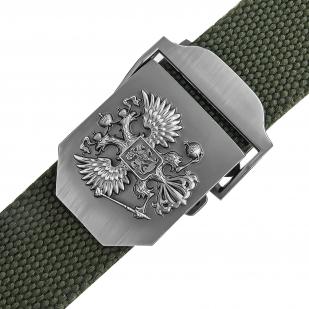 Солидный брючный ремень с гербом России на пряжке (олива)