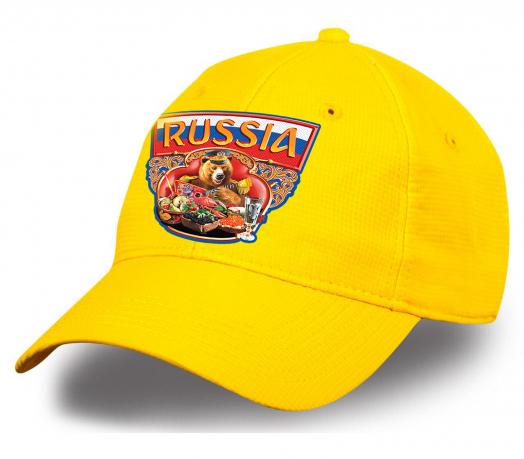 """Солнечная бейсболка """"Russia"""" с национальным медведем. Эффектный головной убор для фаната или патриота. Выбирайте для себя или в подарок!"""
