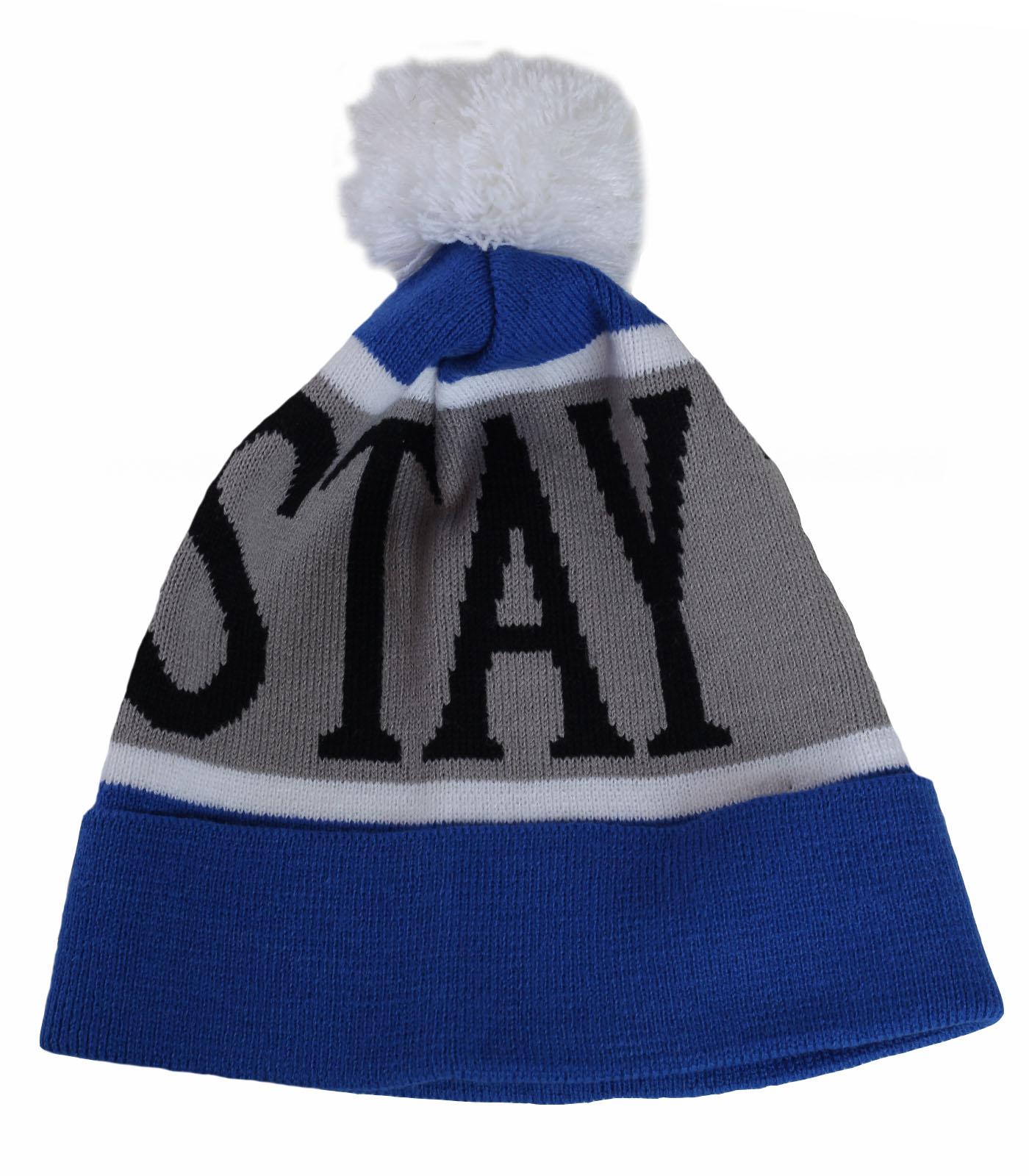 Купить современную уникальную мужскую шапку STAY TRUE с отворотом молодежный стиль по выгодной цене