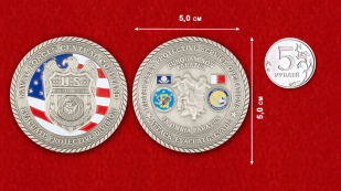 Special Agent of the US Navy Challenge Coin - comparative size