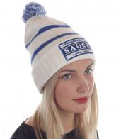 Спортивная женская шапка с прикольным бубоном и нашивкой «SAUCE»