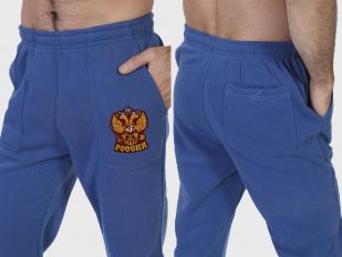 """Спортивные штаны """"Россия"""" с вышитой нашивкой, на флисе"""