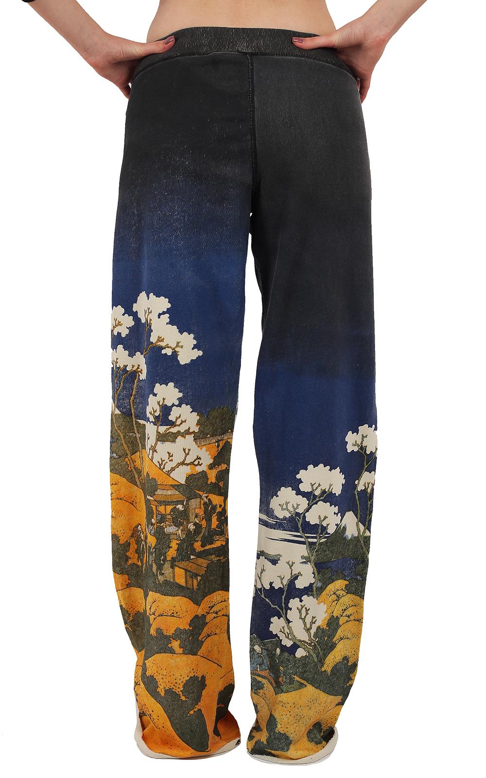 Спортивные женские брюки Paparazzi в модном восточном стиле. Принт с игрой цвета DIP-DYE