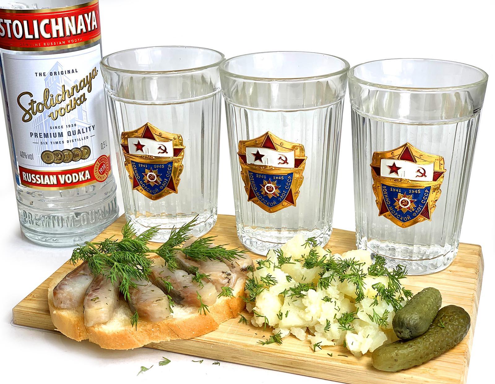 Набор граненых стаканов ВМФ СССР