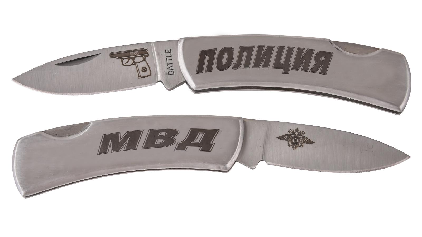 """Стальной складной нож """"Полиция МВД"""" от Военпро"""