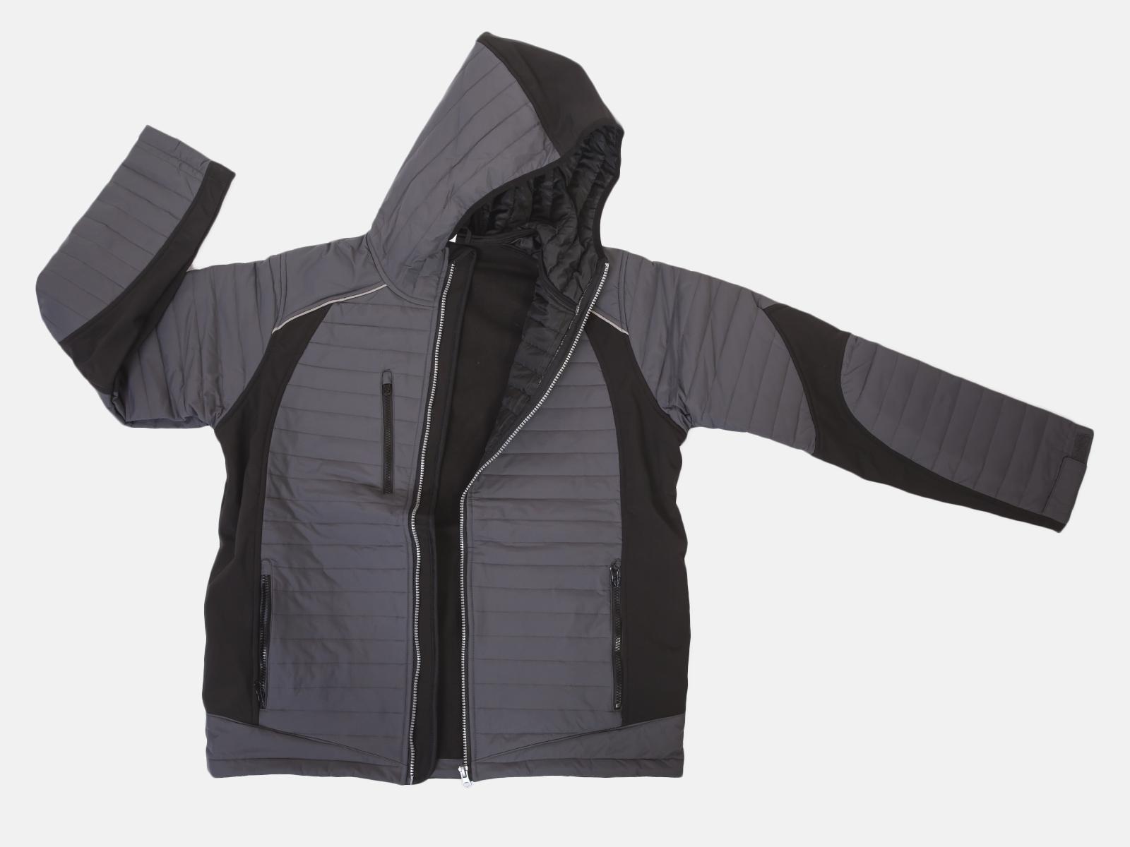 Стеганая мужская куртка с капюшоном (на флисе)